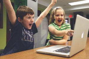 kids on a computer