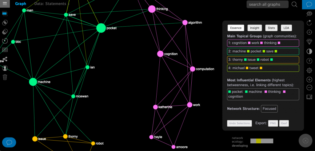 InfraNodus: Text network visualisation and discourse analysis (described as 'postsingularity thinking tool'