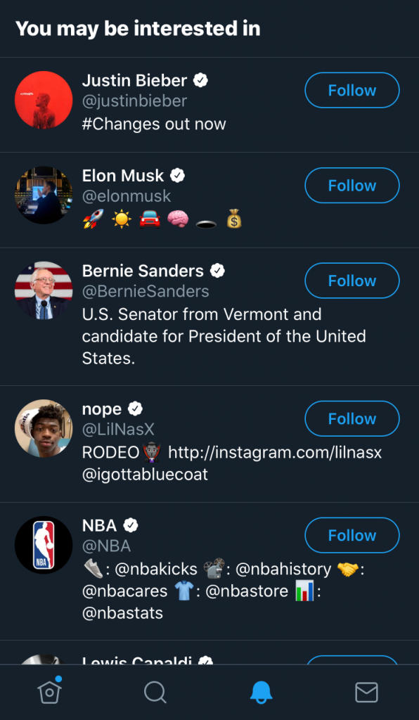 'You may be interested in' on Twitter