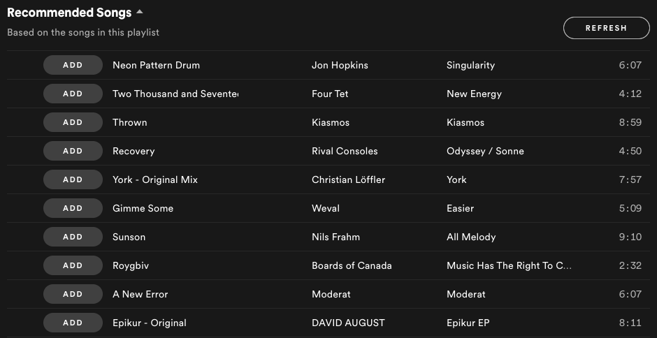 Spotify recommended songs