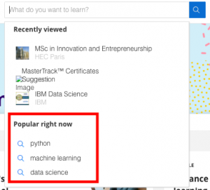 'Popular right now' on Coursera