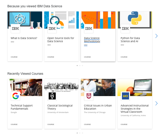 Recently viewed courses in Coursera