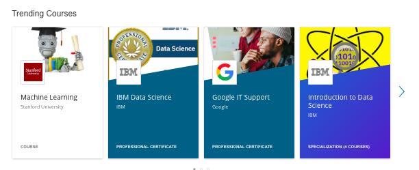 Coursera 'Trending Courses'