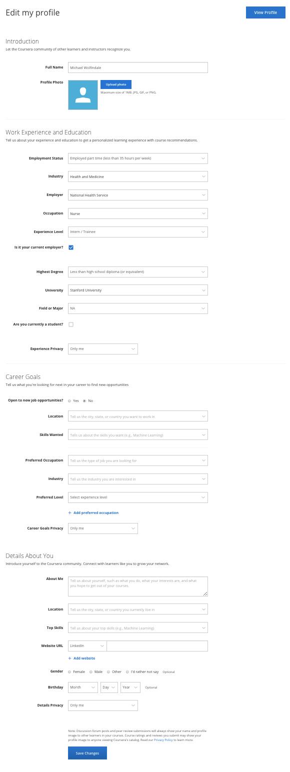 Coursera profile