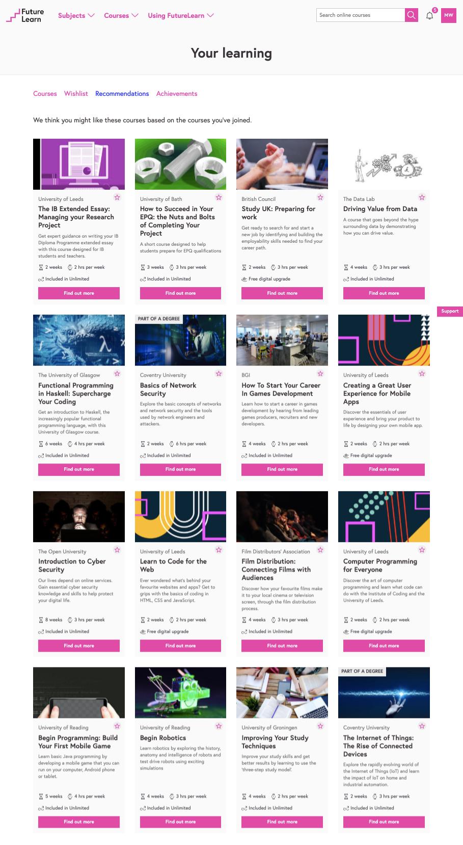 FutureLearn recommendations